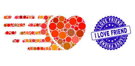 Mosaic express love heart icon and distressed stamp seal with I Love Friend caption. Mosaic vector is designed with express love heart icon and with randomized round spots.