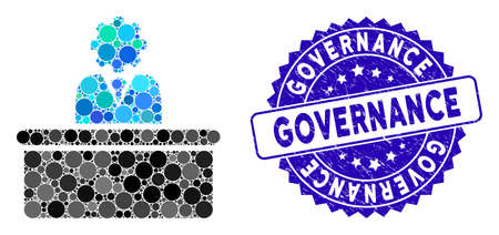 Mosaic bureaucrat icon and rubber stamp watermark with Governance text. Mosaic vector is formed with bureaucrat icon and with random circle items. Governance stamp seal uses blue color, 向量圖像