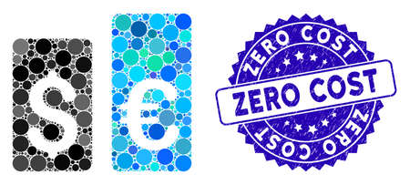 Mosaic currency rate bars icon and rubber stamp seal with Zero Cost phrase. Mosaic vector is formed with currency rate bars icon and with randomized spheric items. Zero Cost stamp uses blue color,