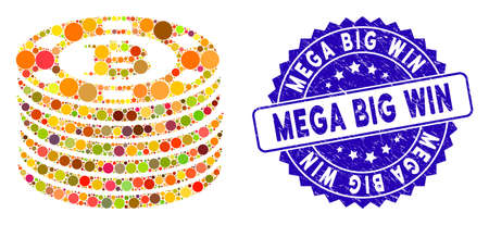 Mosaic Bitcoin casino chips icon and grunge stamp seal with Mega Big Win text. Mosaic vector is formed with Bitcoin casino chips pictogram and with randomized circle elements.