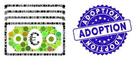 Mosaic euro banknotes icon and rubber stamp watermark with Adoption text. Mosaic vector is formed with euro banknotes pictogram and with scattered round items. Adoption stamp seal uses blue color,