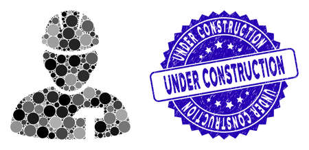 Mosaic builder person icon and corroded stamp seal with Under Construction phrase. Mosaic vector is composed with builder person icon and with randomized spheric spots.
