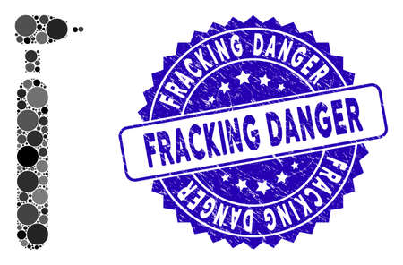 Collage engraving cutter icon and rubber stamp seal with Fracking Danger text. Mosaic vector is designed with engraving cutter icon and with randomized round items.