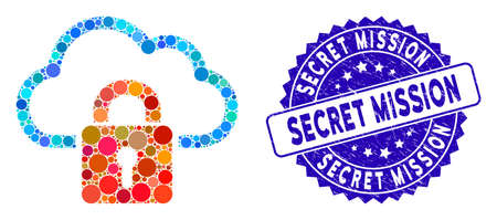 Mosaic cloud locked icon and distressed stamp seal with Secret Mission text. Mosaic vector is designed with cloud locked icon and with scattered circle elements.