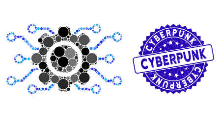 Mosaic electronic gearwheel icon and rubber stamp seal with Cyberpunk text. Mosaic vector is designed with electronic gearwheel icon and with randomized circle spots.