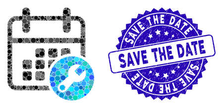 Mosaic calendar setup icon and corroded stamp watermark with Save the Date text. Mosaic vector is composed with calendar setup icon and with random round items. Vector Illustration