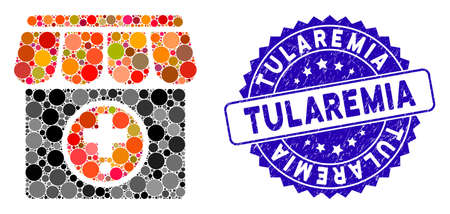Collage drugstore icon and rubber stamp seal with Tularemia caption. Mosaic vector is designed with drugstore icon and with scattered round spots. Tularemia seal uses blue color, and scratched design.