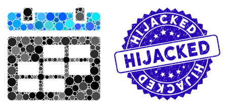 Mosaic calendar icon and grunge stamp watermark with Hijacked text. Mosaic vector is formed with calendar icon and with randomized round items. Hijacked stamp seal uses blue color, and grunge design.