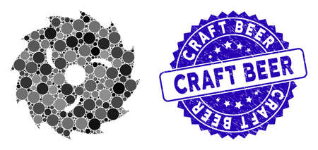 Mosaic circular wood blade icon and grunge stamp seal with Craft Beer caption. Mosaic vector is created with circular wood blade icon and with scattered spheric elements. Иллюстрация