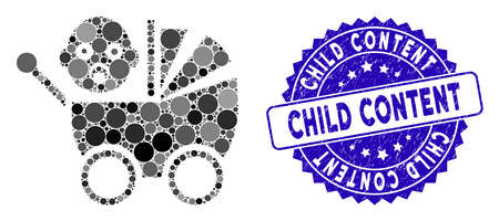 Mosaic baby carriage icon and corroded stamp watermark with Child Content caption. Mosaic vector is formed with baby carriage icon and with randomized spheric elements. Illustration