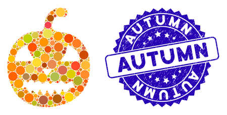 Icono de calabaza de halloween de mosaico y sello de sello angustiado con frase de otoño. El vector de mosaico se forma con el icono de calabaza de halloween y con manchas esféricas dispersas. Sello de otoño utiliza color azul,