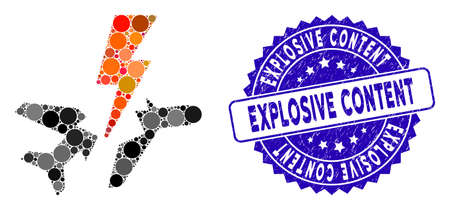 Mosaic aircraft disaster icon and grunge stamp seal with Explosive Content text. Mosaic vector is designed with aircraft disaster icon and with randomized round items. Illustration