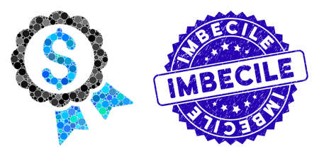 Mosaic bank award icon and rubber stamp watermark with Imbecile caption. Mosaic vector is created with bank award icon and with scattered round items. Imbecile stamp uses blue color,