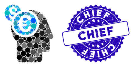 Mosaic banker icon and corroded stamp seal with Chief text. Mosaic vector is formed from banker icon and with random round elements. Chief stamp seal uses blue color, and scratched design.