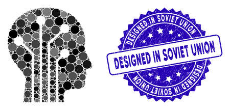 Mosaic cyborg head circuit icon and rubber stamp seal with Designed in Soviet Union phrase. Mosaic vector is created with cyborg head circuit pictogram and with scattered spheric spots.