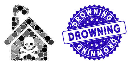 Mosaic crematory building icon and rubber stamp watermark with Drowning text. Mosaic vector is created with crematory building icon and with randomized round items. Drowning stamp uses blue color,