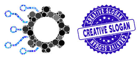 Collage digital gearwheel icon and grunge stamp seal with Creative Slogan phrase. Mosaic vector is formed with digital gearwheel icon and with random spheric elements. Çizim