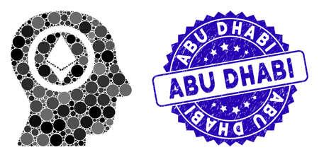 Mosaic Ethereum mind head icon and distressed stamp watermark with Abu Dhabi phrase. Mosaic vector is composed with Ethereum mind head icon and with random circle elements.