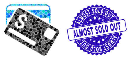 Mosaic credit cards icon and grunge stamp seal with Almost Sold Out caption. Mosaic vector is formed with credit cards pictogram and with randomized circle spots.