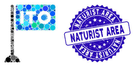 Mosaic ITO rectange flag icon and rubber stamp seal with Naturist Area caption. Mosaic vector is composed with ITO rectange flag icon and with scattered round spots. Illustration