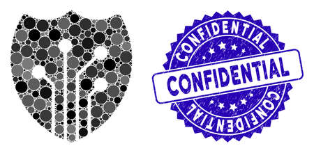 Collage electronic shield icon and grunge stamp seal with Confidential text. Mosaic vector is designed with electronic shield icon and with scattered circle spots. Confidential seal uses blue color,
