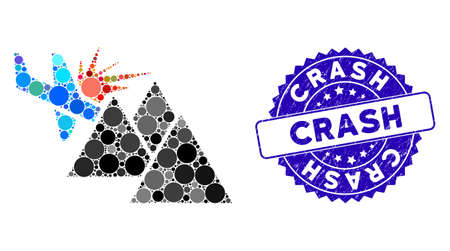 Mosaic airplane mountain crash icon and corroded stamp seal with Crash phrase. Mosaic vector is composed with airplane mountain crash pictogram and with scattered circle spots. Illustration