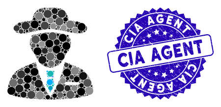 Mosaic agent icon and distressed stamp seal with CIA Agent text. Mosaic vector is created with agent icon and with random circle spots. CIA Agent seal uses blue color, and grunged texture.