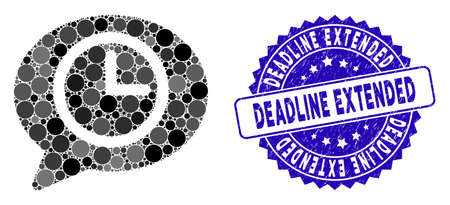 Mosaic message time icon and grunge stamp watermark with Deadline Extended phrase. Mosaic vector is designed with message time icon and with randomized spheric items. Illustration