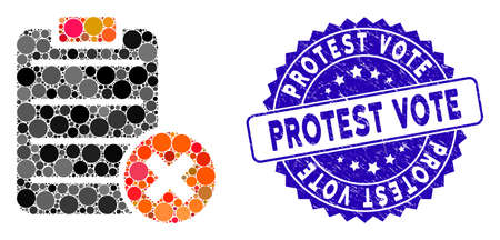 Collage reject form icon and rubber stamp watermark with Protest Vote caption. Mosaic vector is formed with reject form icon and with random circle elements. Protest Vote stamp uses blue color,