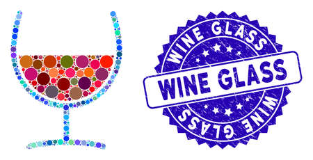 Mosaic red wine glass icon and rubber stamp seal with Wine Glass text. Mosaic vector is created with red wine glass pictogram and with random round elements. Wine Glass stamp uses blue color, Illusztráció