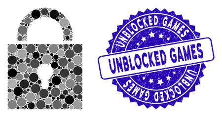 Mosaic lock icon and corroded stamp seal with Unblocked Games phrase. Mosaic vector is created with lock icon and with random spheric spots. Unblocked Games seal uses blue color, and rubber surface.