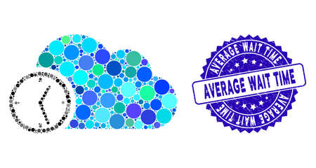 Mosaic time icon and grunge stamp seal with Average Wait Time phrase. Mosaic vector is designed with time pictogram and with scattered spheric spots. Average Wait Time stamp seal uses blue color,