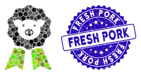 Mosaic pig award stamp icon and rubber stamp watermark with Fresh Pork caption. Mosaic vector is composed from pig award stamp icon and with random circle spots. Fresh Pork stamp seal uses blue color,
