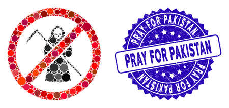 Mosaic no scytheman icon and corroded stamp seal with Pray for Pakistan text. Mosaic vector is formed from no scytheman icon and with randomized spheric items. Pray for Pakistan seal uses blue color,