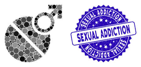Collage male erection tablet icon and rubber stamp seal with Sexual Addiction text. Mosaic vector is composed with male erection tablet icon and with randomized circle items.