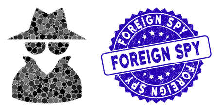 Mosaic spy icon and rubber stamp seal with Foreign Spy caption. Mosaic vector is created from spy icon and with random round spots. Foreign Spy stamp seal uses blue color, and distress design.