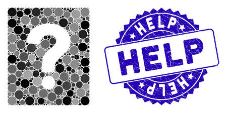 Mosaic help icon and grunge stamp watermark with Help phrase. Mosaic vector is designed with help pictogram and with randomized spheric elements. Help stamp seal uses blue color, and grunge design.
