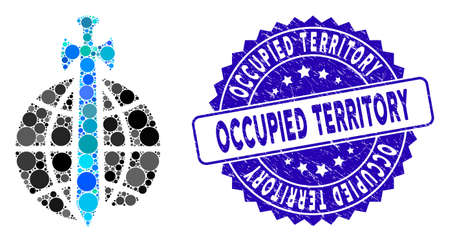 Mosaic global guard icon and distressed stamp seal with Occupied Territory text. Mosaic vector is composed with global guard icon and with random round spots. Illustration