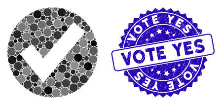 Icône de marque OK en mosaïque et sceau de timbre corrodé avec la légende Voter oui. Le vecteur mosaïque est créé avec l'icône de marque OK et avec des taches sphériques aléatoires. Votez oui sceau utilise la couleur bleue et la texture en caoutchouc.