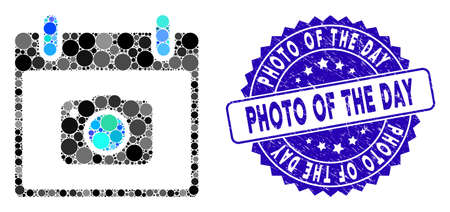 Mosaic photo camera calendar day icon and grunge stamp seal with Photo of the Day text. Mosaic vector is created from photo camera calendar day icon and with scattered round items.