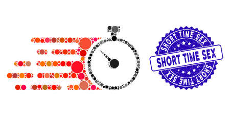 Mosaic fast stopwatch icon and corroded stamp seal with Short Time Sex caption. Mosaic vector is created with fast stopwatch icon and with random round items. Short Time Sex stamp uses blue color,