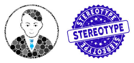 Collage rounded gentleman icon and grunge stamp seal with Stereotype phrase. Mosaic vector is formed with rounded gentleman icon and with scattered circle spots. Stereotype seal uses blue color, Vectores