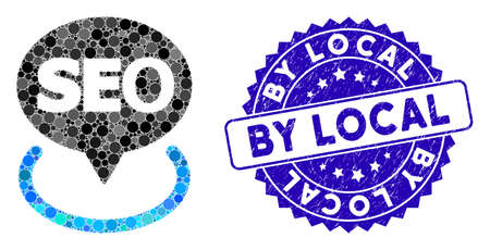 Mosaic local seo icon and distressed stamp seal with By Local caption. Mosaic vector is designed with local seo icon and with randomized round elements. By Local stamp seal uses blue color, Illustration