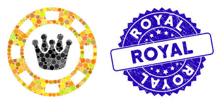 Mosaic royal casino chip icon and rubber stamp seal with Royal caption. Mosaic vector is designed with royal casino chip icon and with scattered circle elements. Royal stamp seal uses blue color, 일러스트