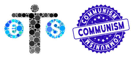 Collage person compares currency icon and distressed stamp seal with Communism phrase. Mosaic vector is designed with person compares currency icon and with scattered round elements. Illustration