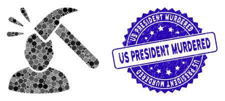 Collage head shock icon and grunge stamp seal with Us President Murdered text. Mosaic vector is formed with head shock icon and with scattered round items.