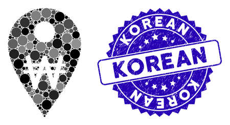 Mosaic Korean Won map marker icon and distressed stamp seal with Korean text. Mosaic vector is designed with Korean Won map marker icon and with scattered round spots. Stock Illustratie