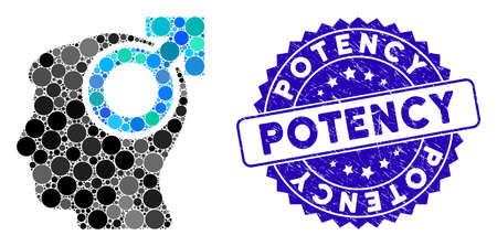 Mosaic intellect potency icon and rubber stamp watermark with Potency phrase. Mosaic vector is designed with intellect potency icon and with random spheric elements. Potency stamp uses blue color,