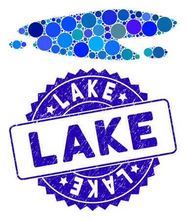Mosaic puddle icon and rubber stamp seal with Lake text. Mosaic vector is composed with puddle icon and with scattered circle items. Lake stamp seal uses blue color, and grunged design.