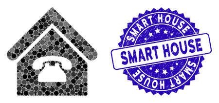 Mosaic phone station icon and corroded stamp seal with Smart House phrase. Mosaic vector is formed with phone station icon and with scattered round elements. Smart House seal uses blue color,